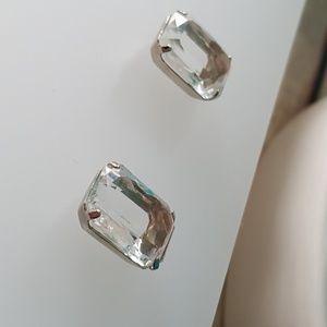 vintage crystal square studs clear color sparkle